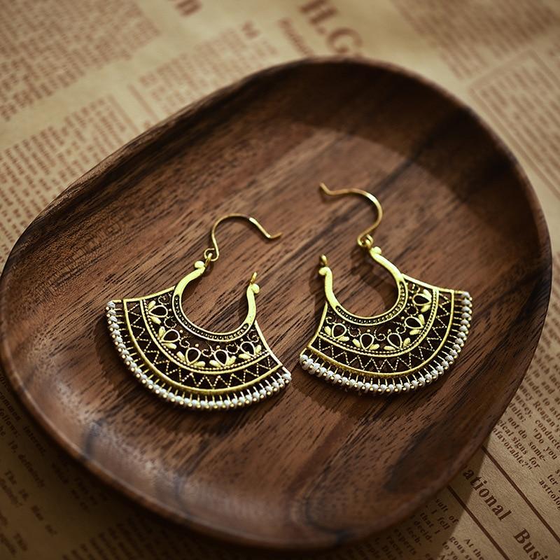 Retro Gypsy Copper Hollow Fan Drop Earrings For Women Ethnic Wire Hook Jhumka Earring Jewelry Hangers
