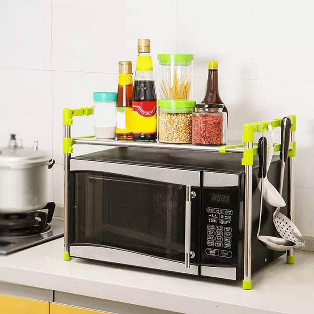 Multifunctional Microwave Oven Shelf Rack Stainless Steel Adjustable Standing Type Double Kitchen Holder