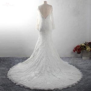 Image 4 - LZ369 Yiai Ivory Nice Lace Pearls Wedding Dress Long Sleeve Mermaid Dress Sexy Side Split Long Beach Dress