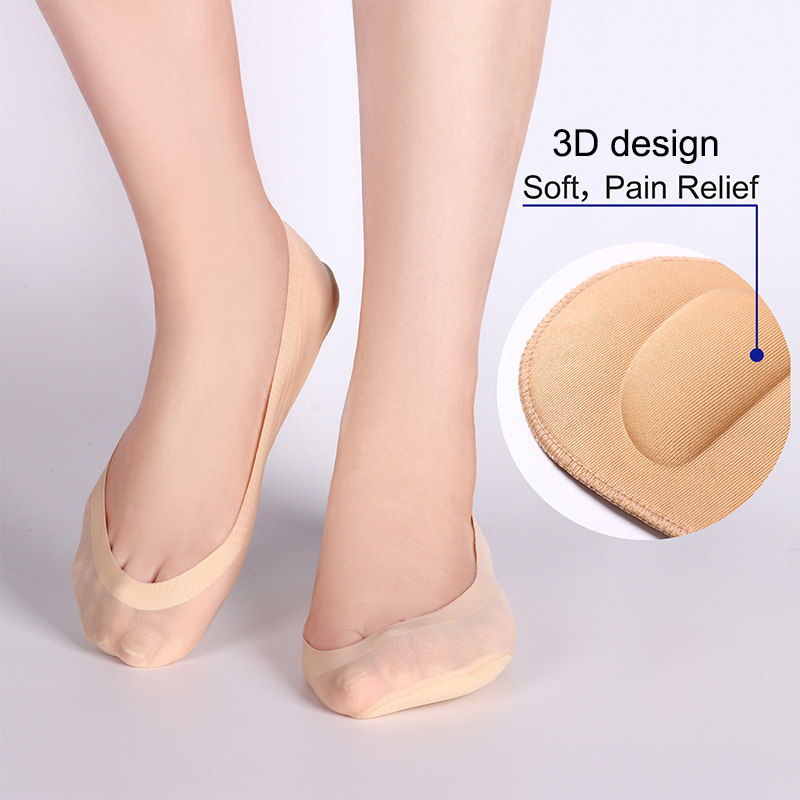 1/2Pairs Ladies 3D Boat   Socks   Breathable Cushion Bow Foot Massage Health Care Invisible   Socks   Silicone Anti-off Silk Boat   Socks