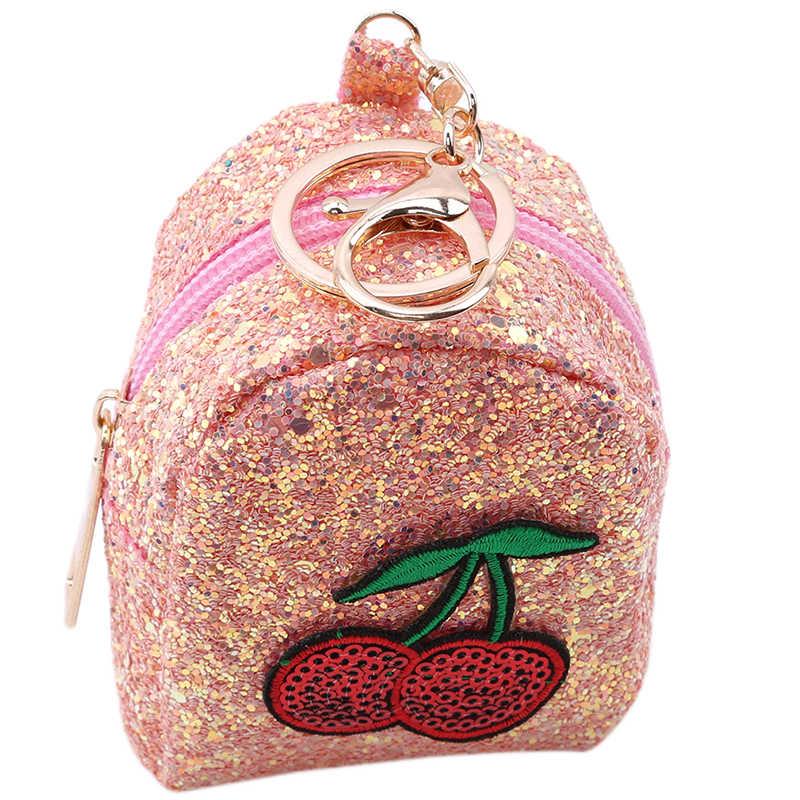 2019 lantejoulas bolsa da moeda chaveiro cereja lantejoulas senhora bolsa da moeda pequeno saco de frutas mini bolsa na moda chaveiro chave do cartão moeda bolsa