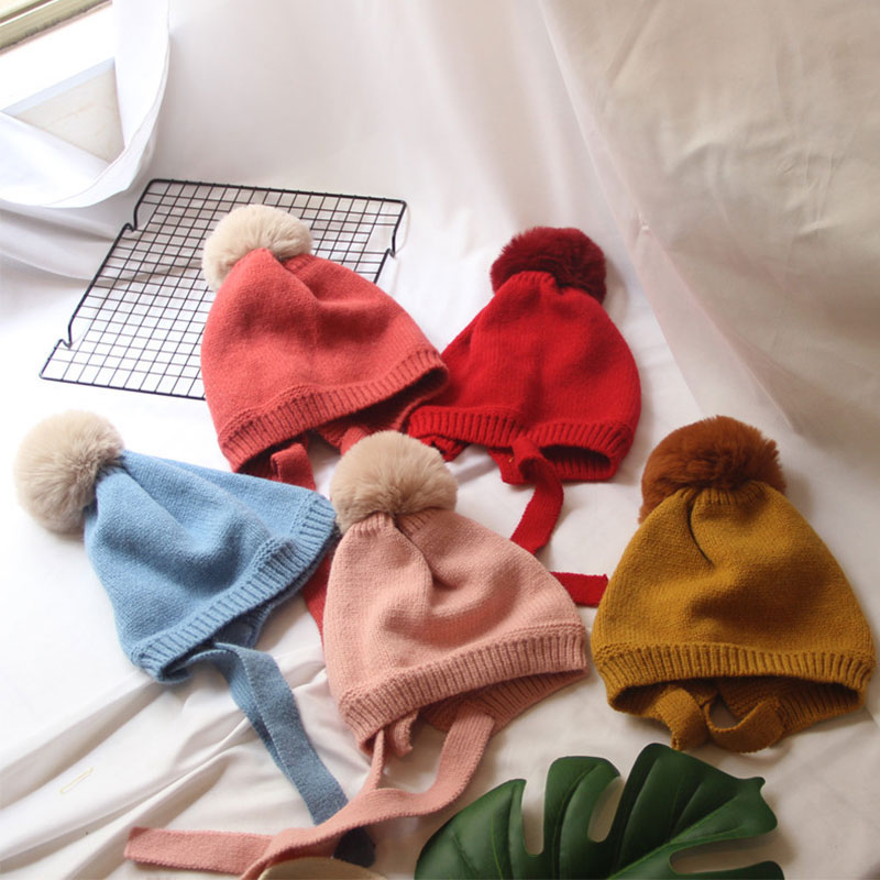 Korean Fashion New Autumn And Winter Hair Ball Tie 2-8 Years Old Children's Knitted Headgear Boys And Girls Cute Wool Cap