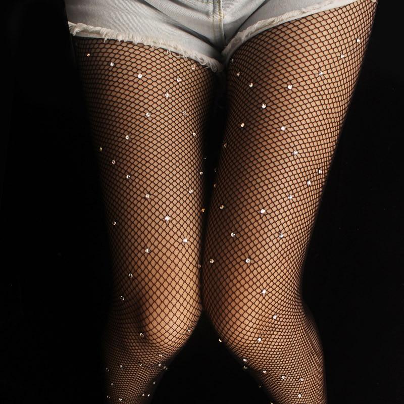 2017 Kvinders skinnende fiskenet strømpe Sexet Rhinestone strømpebukse kvindelige diamanter strømpebukser hule Beading club party strømpebukser collant