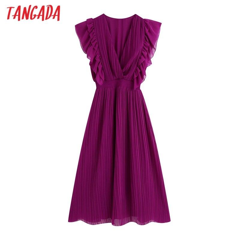Tangada fashion women solid ruffles party dress short sleeve female purple v neck midi dress vestidos BE783