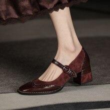 Chaussures en cuir véritable Mary Jane pour femmes, escarpins peu profonds, bout carré, talon épais, à la mode, rétro, faites à la main, taille 34-40