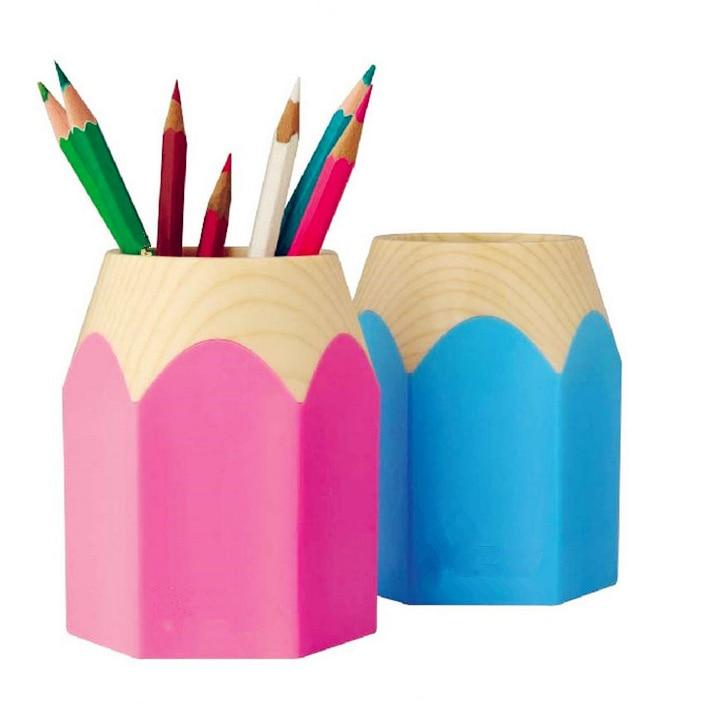 1 Pcs Mini Office Pencil Pot Holder Student Pen Storage Vase Stationery Gift Cup Makeup Brush Box