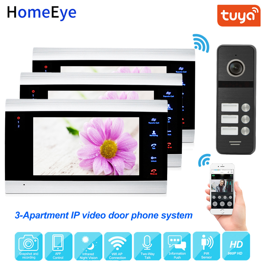 Tuya Smart App Supported IP Video Door Phone WiFi Video Intercom 3-Apartments 960P HD Security Access Control System Waterproof