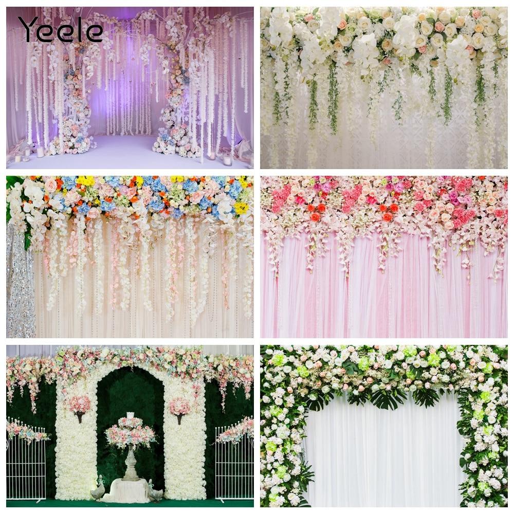 Yeele Фотофон фотография Декорации для свадебной сцены и цветочным декором, с блестками; Выходное платье дерево фиолетовый фотографические Ф...