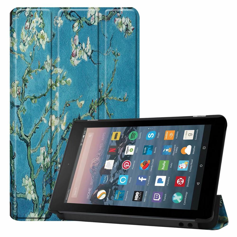Tablet Protective Case For Amazon New Fire 7 2017 <font><b>2019</b></font> Pu Leather Flip <font><b>Cover</b></font> Smart Case For <font><b>Kindle</b></font> Fire 7 9th Generation Tablet image