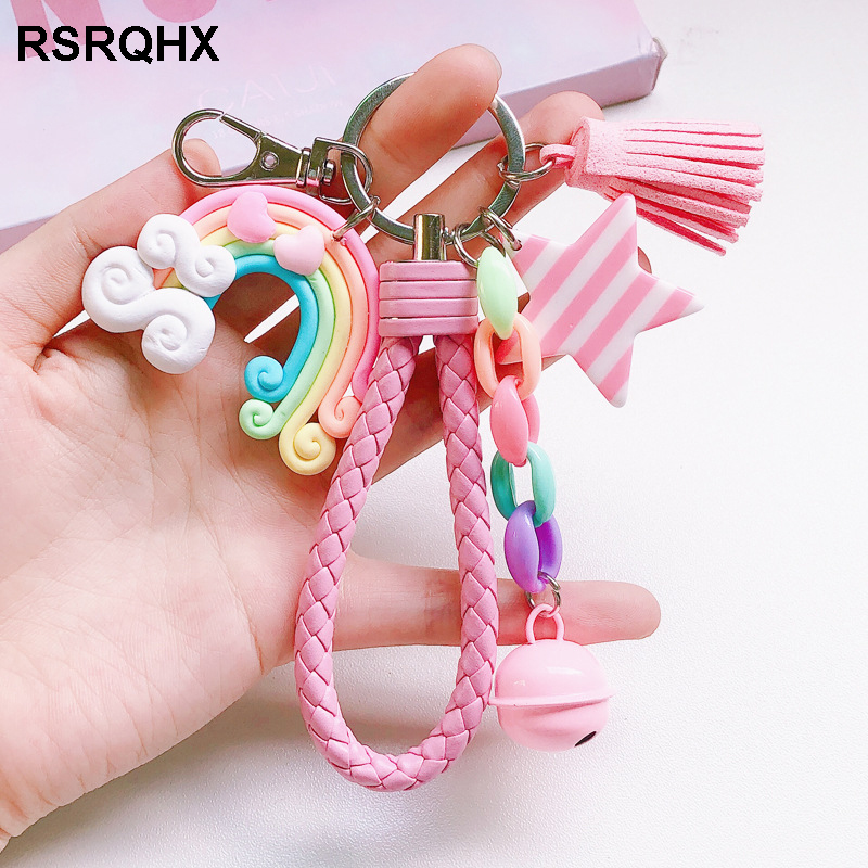 Kpop Lovely Cute Rainbow Keychain Leather Rope Braided Tassel Key Chain Rings Lollipop Star Bell Best Gifts For Girls Friends