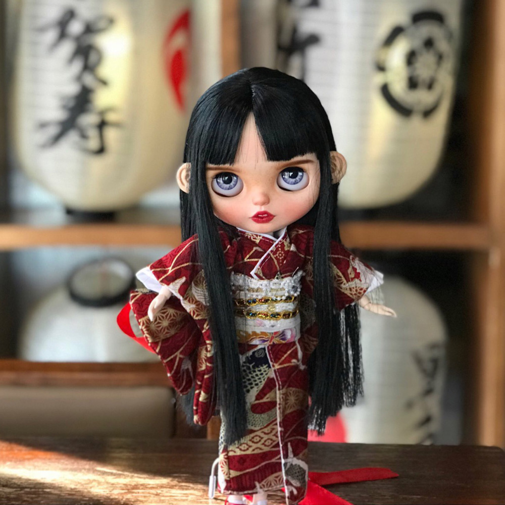 Blyth Doll NBL 1/6 BJD Customized Frosted Face,big Eyes Fashion Girl Makeup Ball Jointed Long-haired Girl In A Kimono