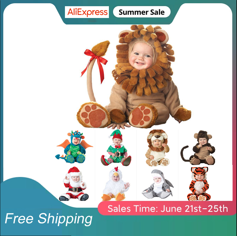Animal Carnival Halloween Outfits Baby Boys Girls Costume Animal Cosplay Rompers Jumpsuit Toddlers Infant Clothes