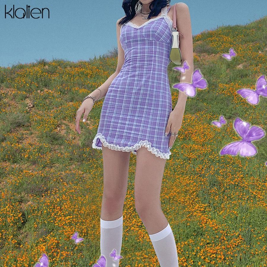 KLALIEN nette süße spitze lila plaid Strap kleid frauen sommer mode sexy party geburtstag weiche baumwolle mini bodycon kleid frauen