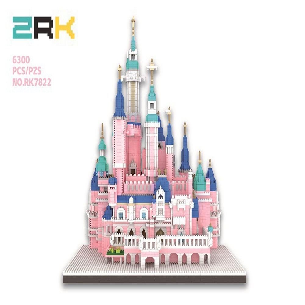 ZRK Small Particles Puzzle Diamond Assembled Children's DIY Toy Building Blocks Castle Park