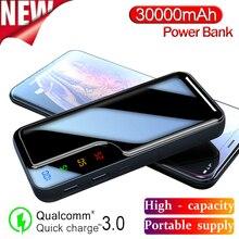 Güç banka 30000mAh ayna ekran dijital ekran harici pil 2 USB hızlı şarj için akıllı telefon