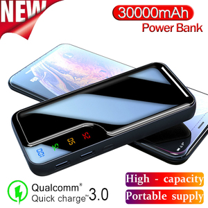 Image 1 - Power Bank 30000mAh Mirror Screen Digital Display External Battery 2 USB Fast Charger for Smart Phone