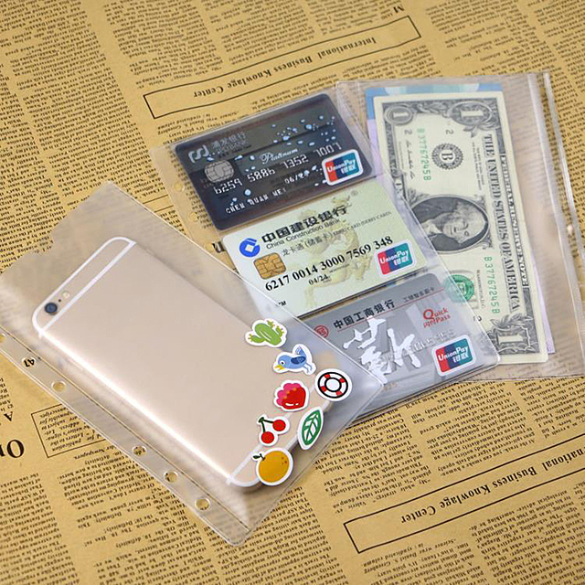 1pc A6 PVC Zipper Pouch Standard 6 Holes Transparent Card Bills Bags Loose Leaf Plastic Card Holder Pockets Storage Organizer
