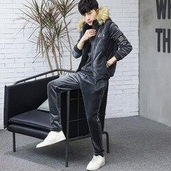 2020 nueva ropa deportiva para hombre moda deportiva otoño invierno cálido Jersey pulóver informal con capucha chaleco pantalones conjunto de tres piezas