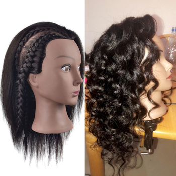 """Mannequin Head 100% Human Hair Hairdresser Training Head Manikin Doll Head for Hairstyle Hairdressing Cosmetology Salon Tools alileader 26"""" synthetic blonde black hair training mannequin head cosmetology hair salon hairdressing practice doll manikin head"""