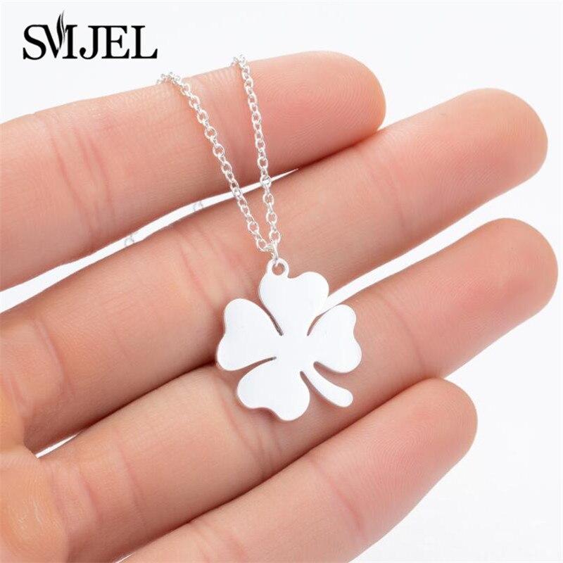Pendentif trèfle porte-bonheur en acier inoxydable, bijoux à quatre feuilles, pendentif trèfle pour femmes et filles, cadeau danniversaire pour meilleur ami