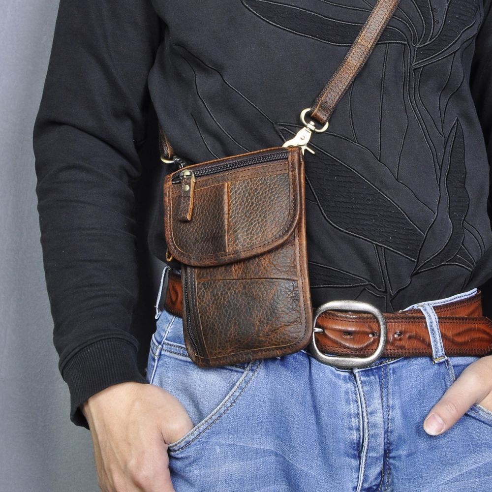Quality Leather Men Casual Multifunction Small Messenger Crossbody Bag Fanny Waist Belt Bag Pack Cigarette 6