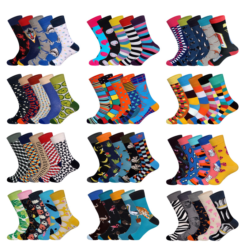 LIONZONE 5Pairs/lot Brand Men Socks 60 Colors 12 Selects British Style StreetWear Designer Happy Socks Funny With Gift Box
