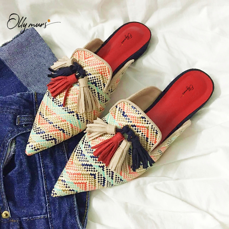 OllyMurs Fashion Style Spring Summer Shoes Woman Slippers Pointed Toe Cane Mixed Color Women Shoes Slippers Mules Shoes Woman