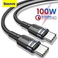 Baseus-Cable USB de carga rápida 4.0 PD para móvil, cable de carga rápida USB tipo C de 100W para Xiaomi Redmi Note 8 Pro, MacBook Pro