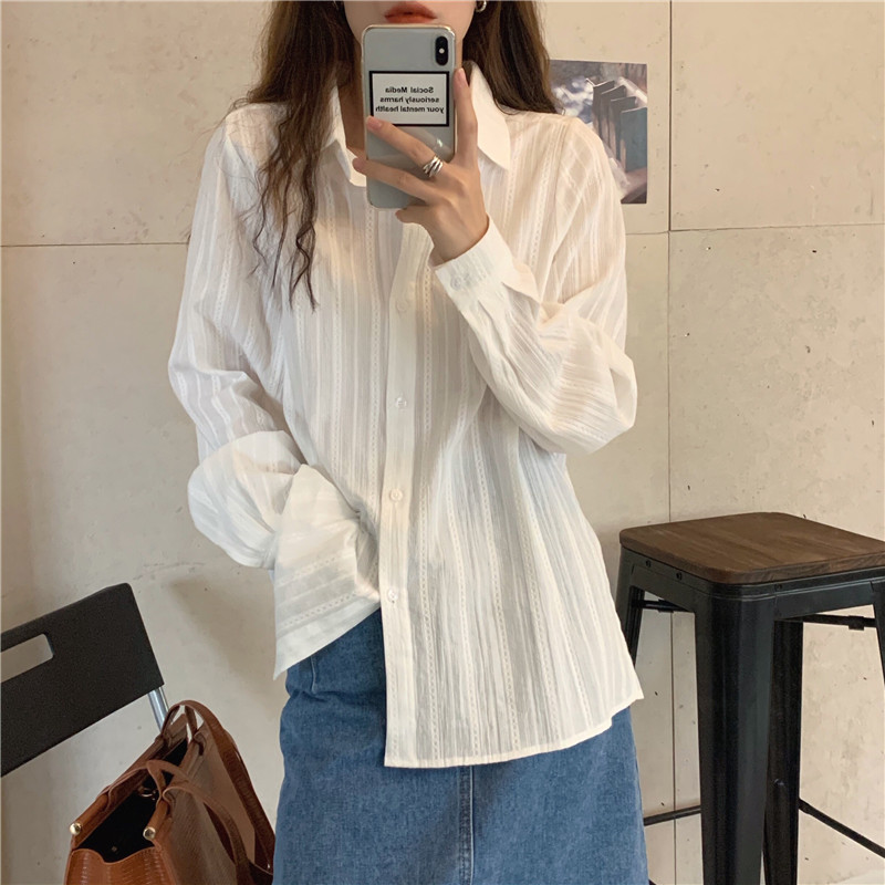 Hf6d6ca7a7da94173a96d9ca4dba8818dt - Spring / Autumn Turn-Down Collar Long Sleeves White Striped Blouse