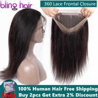 Bling Haar Braziliaanse Steil Haar 360 Kant Frontale Sluiting Met Baby Haar Pre-Pluked 100% Remy Human Hair Sluiting natuurlijke Kleur
