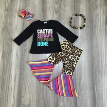 Nowy jesień/zima dziewczynek ubrania dla dzieci zestaw stroje boutique serape leopard mleka jedwabiu spodnie marszczone bawełna mecz akcesoria