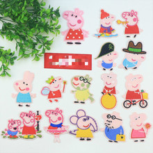 50pcs/lot Pink Embroidery Patches Cute Animal Pigs Elephant Cartoon Kids Clothing Biker Accessories Heat Transfer Badge Iron