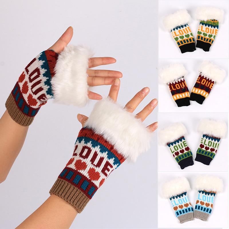 2021 Autumn and Winter Fashion Warm Women's Gloves Cuffs Plush Warm Short Gloves Touch Fingerless Half Finger Gloves