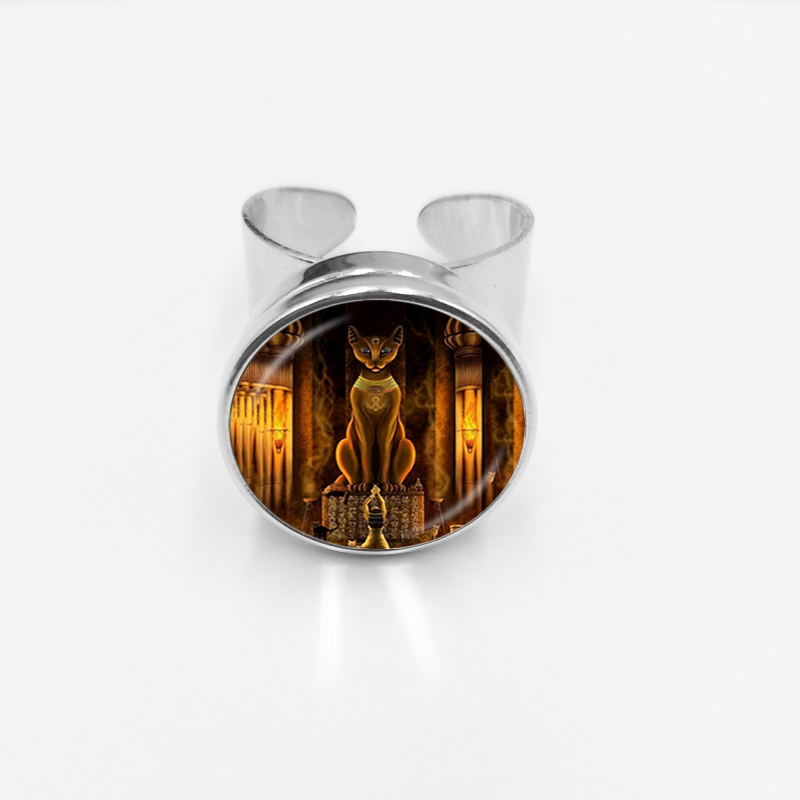 initial Fashion New Hot Sale Ancient Egyptian Cat Goddess Statue Glass Button Ring Egyptian Lord Handmade Open Ring Jewelry in Rings from Jewelry Accessories