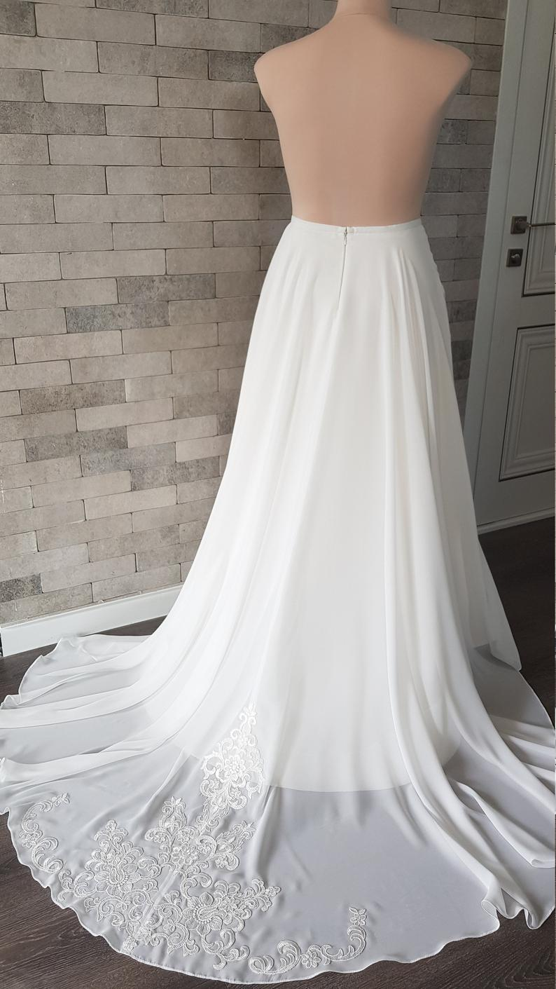 Chiffon Wedding Skirt With Train Bridal Separations Wedding Overskirt Chiffon Bridal Skirt Train, Removable Applique Skirt Train