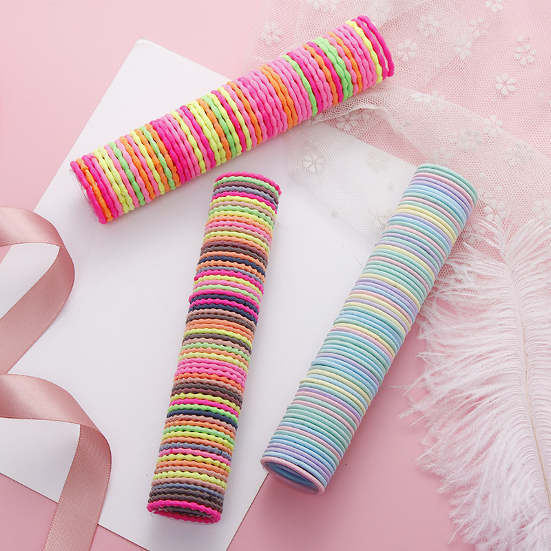 50Pcs/Pack Cute Children Hair Bands Kids High Elastic Rubber Bands Ponytail Holder Colorful Headbsnds Hair Accessories For Girls