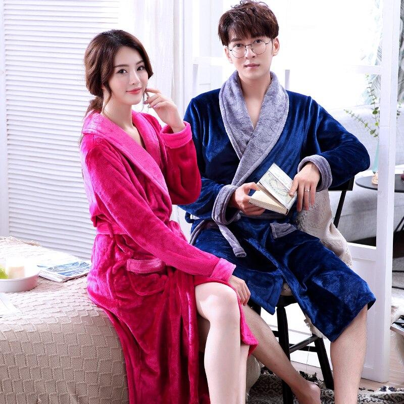 Winter Men Cartoon Flannel Robe Lovers Sleepwear Nightwear Casual Bathrobe Kimono Gown Thick Coral Fleece Intimate Lingerie