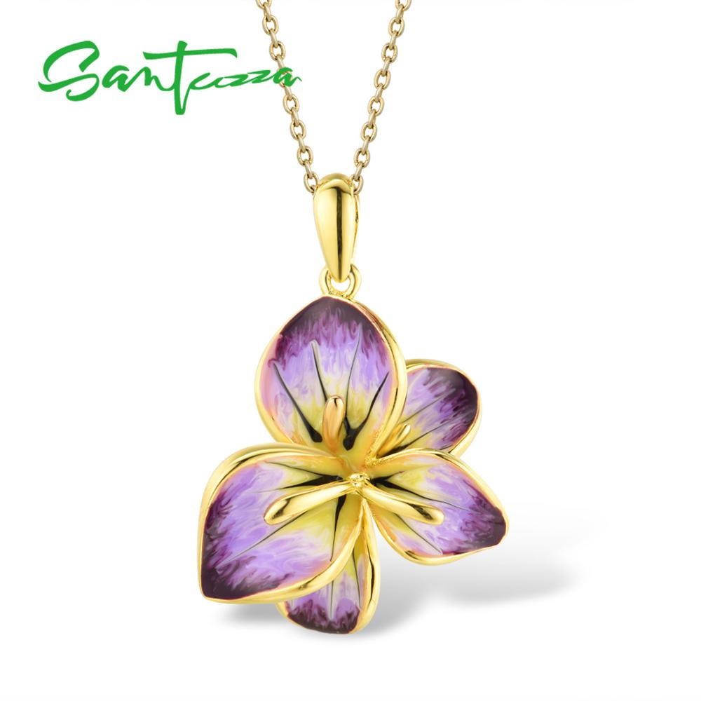 SANTUZZA Silver Pendant For Women Pure 925 Sterling Silver Gold Color Gorgeous Blooming Flower Pendant Jewelry HANDMADE Enamel