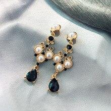 new womens fashion crystal earrings rhinestone  glass black resin sweet metal leaf ear for girl
