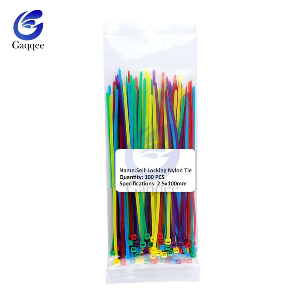 100Pcs 100mm 150mm 200mm Self-locking Nylon Cable Ties Plastic Wire Zip Binding Wrap Straps  Mix 10 Color Organiser Fasten Cable