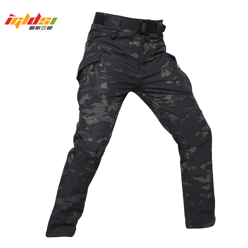 Men's Waterproof Winter Fleece Warm Cargo Pants IX9 Style Soft Shell Tactical Camouflage Pants Military Army Long Trousers 5XL