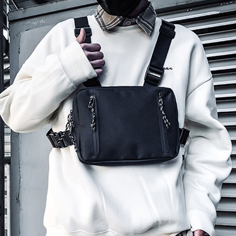 Streetwear Tactical Chest Rig Bags Men Graffiti Rectangle Chest Bag Trend Street Functional Vest Hip Hop Bag Male Fanny Pack