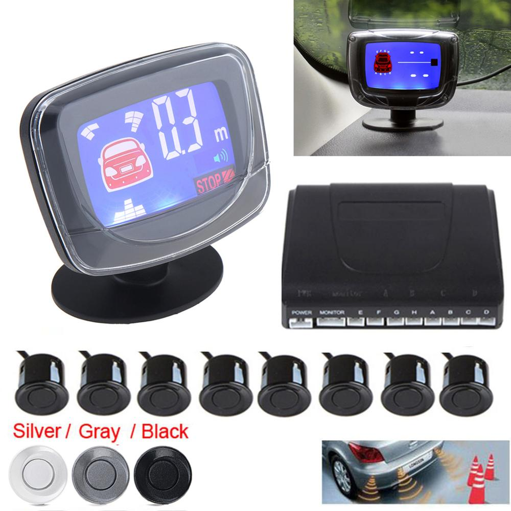 Weatherproof Car Auto Parktronic LCD Parking Sensor System 4 / 6 / 8 Sensors Reverse Backup Car Parking Radar Monitor Detector|kit match|sensor probe|sensor touch -