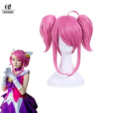 ROLECOS LOL Star Guardian Lux Cosplay Wig Pink Women Wig Double Ponytails Hair Short Hair Heat Resistant Synthetic wig(China)