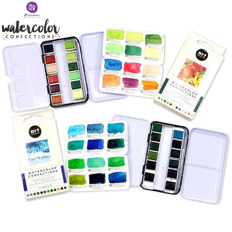 Prima Marketing  Solid Watercolor Pigment 12 Colored Iron Box Portable Watercolour Hand-painted Painting Fresh Illustration Hand