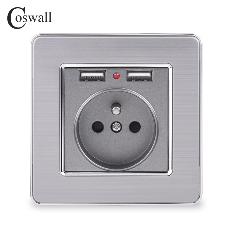 Coswall Dual USB Charging Port 5V 2.1A LED Indicator 16A French Wall Power Socket Stainless Steel Panel Grey Black White Gold