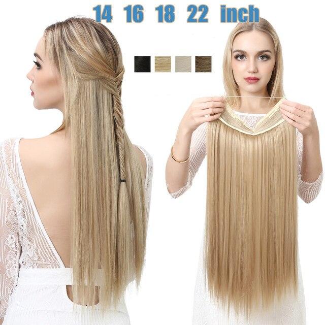 SARLA Halo שיער הארכת אין קליפ בלתי נראה חוט סינטטי Ombre טבעי מזויף ארוך ישר שווא פיסת שיער פאה לנשים