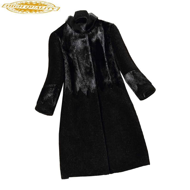 Real Wool Fur Coat Female Winter Warm Jackets For Women Sheep Shearling Coats Patchwork Natural Mink Fur Jacket X-16