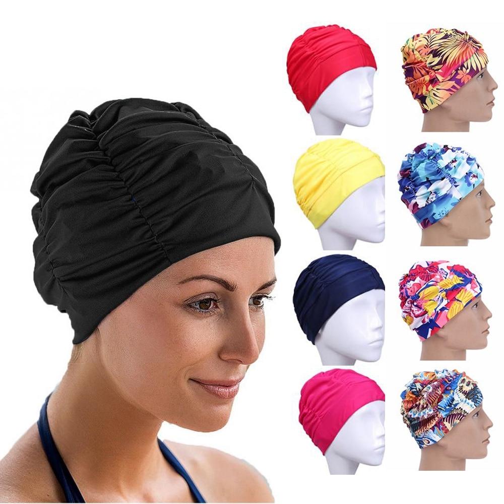 Высокоэластичная шапка для плавания для мужчин и женщин, однотонная шапка для плавания с длинными волосами и цветочным принтом, нейлоновый ...