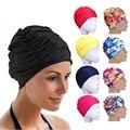 1 шт. шапка для плавания свободного размера, эластичный нейлоновый тюрбан, Шапки для плавания с цветочным принтом для бассейна, Шапки для пла...